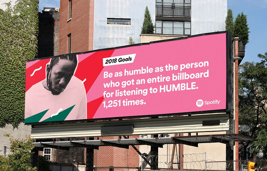 use of commercial music photography on a billboard. marketing campaign from Spotify to promote Kendrick Lamar's song Humble from his DAMN album.